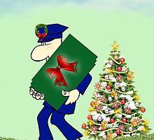 Holiday greetings with postman Merry christmas Season's greetings by Cheryl Hall