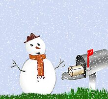 Holiday greetings Christmas card Season's greetings with snowman by Cheryl Hall