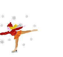 Merry Christmas with ice skater by Cheryl Hall