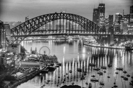 Black and White Fantasia - Sydney Habour, Sydney Australia - The HDR Experience by Philip Johnson