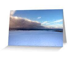 coastal snow covered links golf course in storm Greeting Card