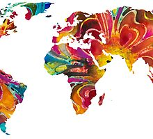 Map of The World 2 -Colorful Abstract Art by Sharon Cummings