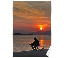 sunset fisherman Poster