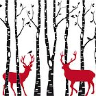 Christmas deers in birch tree forest by beakraus