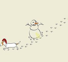 Footprints in the snow Christmas card by Diana-Lee Saville