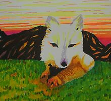 Arctic Fox in spring by George Hunter