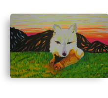 Arctic Fox in spring Canvas Print