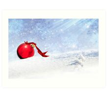 Christmas Background With Red Bauble In The Snow Art Print