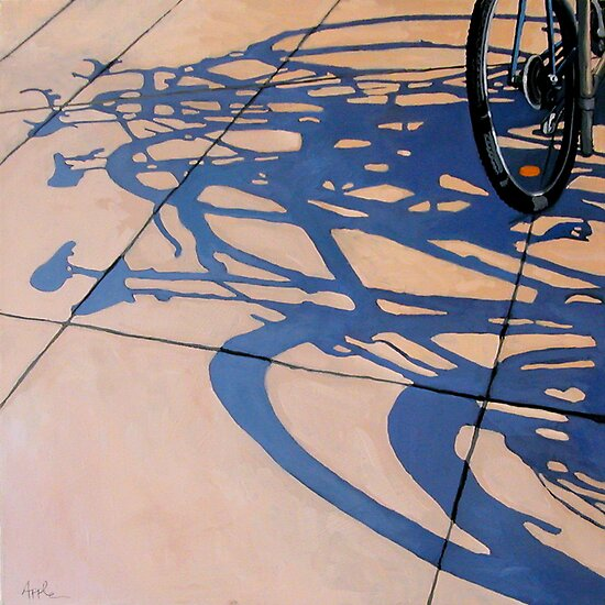 The Gathering - bicycle art oil painting by LindaAppleArt