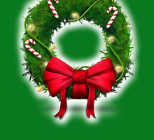 Merry Christmas with wreath and candy cane christmas holiday card by Cheryl Hall