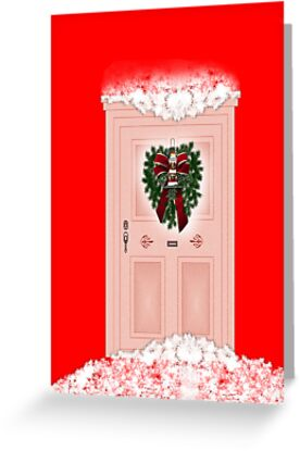 Merry Christmas to our neighbours with wreath on door by Cheryl Hall