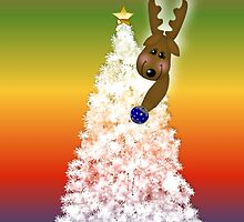 Merry Christmas happy holidays card with white christmas tree and reindeer by Cheryl Hall