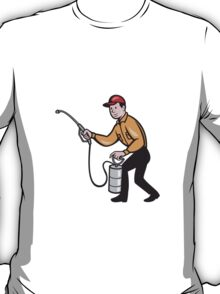 Pest Control Exterminator Worker Spraying Cartoon  T-Shirt