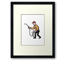 Pest Control Exterminator Worker Spraying Cartoon  Framed Print
