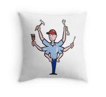 Tradesman Carpenter Mechanic Plumber Cartoon  Throw Pillow