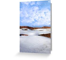 snow covered links golf course with yellow flag Greeting Card