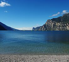 Surfers on Lake Garda near Torbole, Italy by Claudio Del Luongo