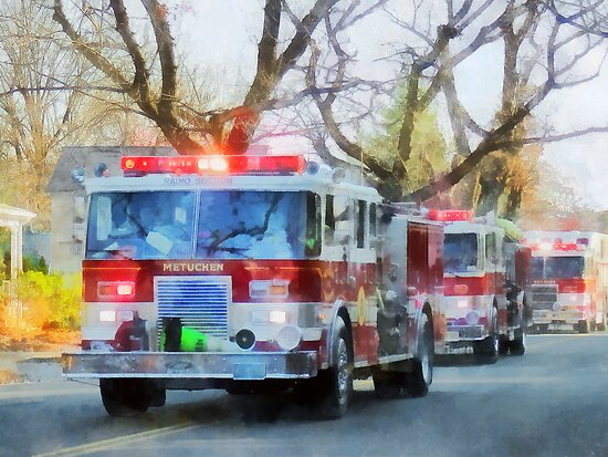 Firefighters - Line of Fire Engines in Parade by Susan Savad