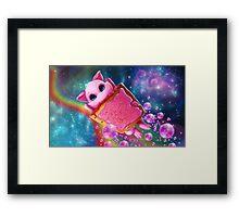 Rainbow Pop Tart Space Mew Framed Print