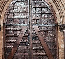 Timber door Exeter Cathedral 198101140024  by Fred Mitchell