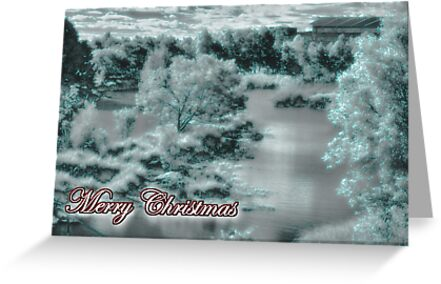Merry Christmas happy holidays card with christmas snow scene by Cheryl Hall