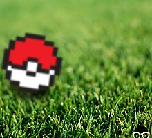 8bit pokeball in grass by innergeekGD