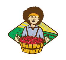 Farmer Boy Straw Hat Tomato Harvest by retrovectors