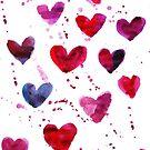 Hearts in Watercolour by Anastasiia Kucherenko