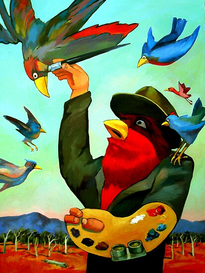 The Birdman painting by Guntis Jansons