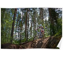 Biker on Trail Poster