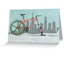 Urban Winter Cycling Greeting Card