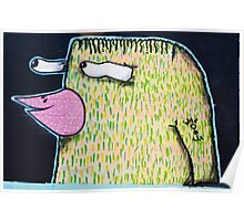 Graffiti Bird on the textured wall Poster