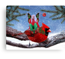The Cardinal & The Christmas Fairy Canvas Print