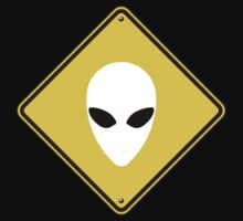 Alien Caution Road Sign - White by cpotter
