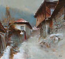 Winter in village by vaskoni