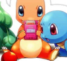 Charmander, Bulbasaur, and Squirtle playing Gameboy Sticker
