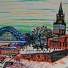 St Mary's and the Tyne Bridge in winter by George Hunter