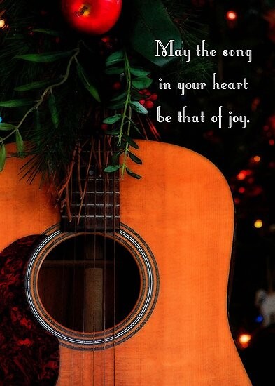 """""""Joyful Song Acoustic Guitar Christmas Greeting"""" by ..."""