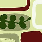 Retro Lozenge and Leaf Print in Green and Oxblood by LucyStripes