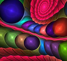 Spirals and Bubbles, abstract fractal case by walstraasart