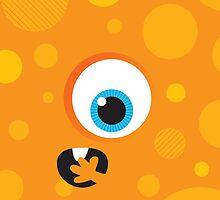 IPhone :: one-eyed monster face shock - orange by Kat Massard
