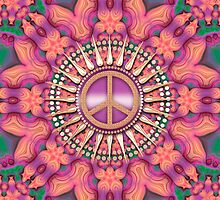 Pink Fractal Bling Peace iPhone iPod Case by webgrrl
