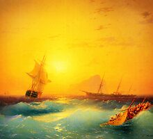 american shipping off the rock of gibraltar 1873 by Adam Asar