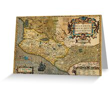 1606 Hondius_and Mercator Map of Mexico Geographicus HispaniaeNovaMexico mercator 1606 Greeting Card
