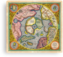 1606 Mercator Hondius Map of the Arctic First Map of the North Pole Geographicus NorthPole mercator 1606 Canvas Print