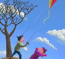 kids flying kite on windy day by martyee