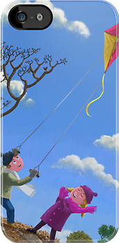 "kids flying kite on windy day"" iPhone & iPod Cases by martyee ..."