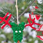 Funny adorable reindeer ornament Christmas Card by campyphotos
