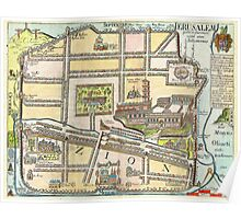 1650 Fuller Map of Jerusalem Israel Palestine  Holy Land Geographicus jerusalem fuller 1650 Poster