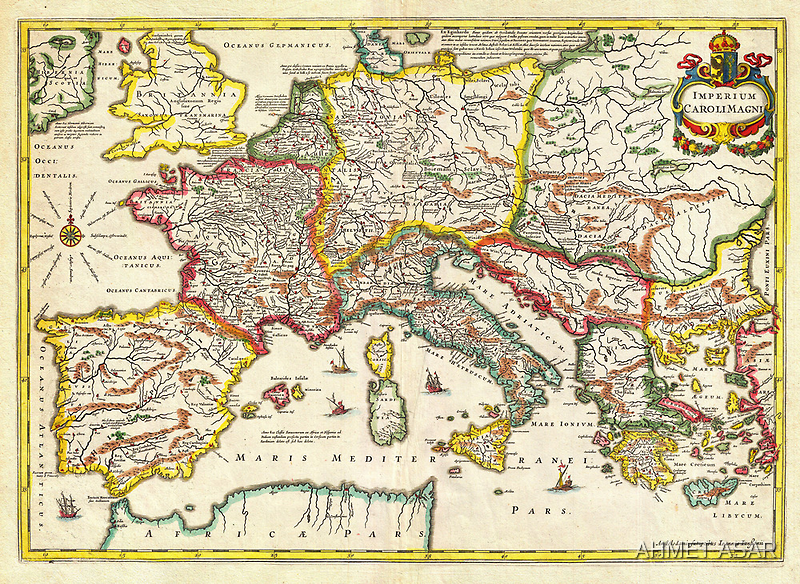 1657 Jansson Map of the Empire ofCharlemagne Geographicus CaroliMagni jansson 1657 by Adam Asar